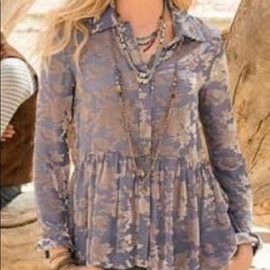 Sundance XS Beautiful Periwinkle Blue Beige Blouse